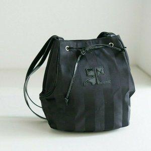 Vintage 90s Y2K Black Nylon Curréges Paris Bag